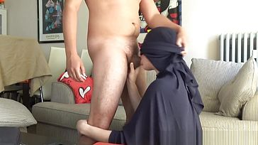 Arab nubile with niqab gets a facial cumshot - muddy fellatio and drilling