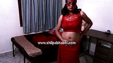 Marvelous Shilpa Bhabhi Indian Wife In Red Saree Disrobing Bare Sex