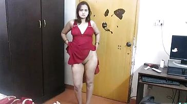 INDIAN Inexperienced Wife SONIA Stripping Bare IN Uber sexy Red NIGHTY DANCING